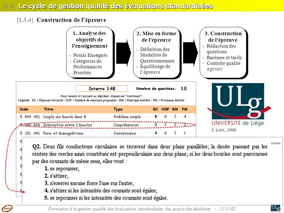 [1.3] Le cycle de gestion qualité des évaluations standardisées